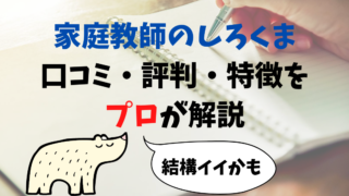 家庭教師のしろくま:ホワイトベアの特徴・口コミ・評判を元塾講師が解説!
